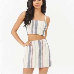 Forever 21 striped crop top and mini skirt set